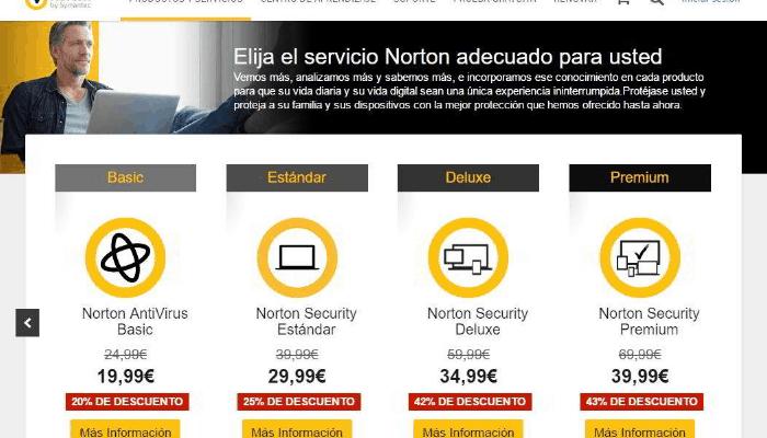 Precios de servicios de Norton