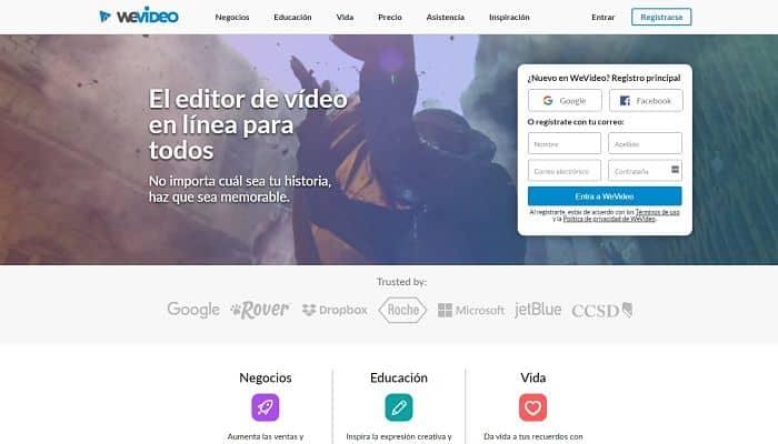 Sitio web de WeVideo