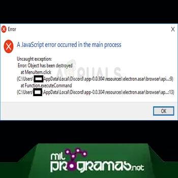 A javascript error occurred in the main process
