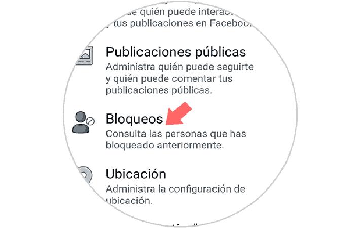 """Sección """"Bloqueos"""""""