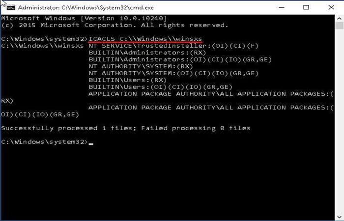 ICACLS C: \\ Windows \\ winsxs