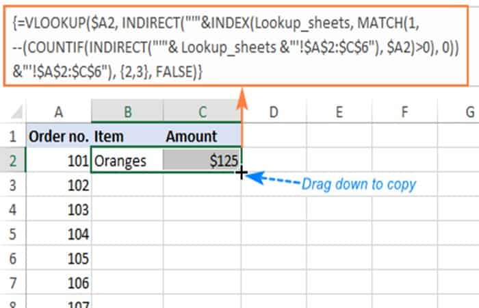 """IFNA (VLOOKUP($A2, INDIRECT (""""'""""&INDEX (Lookup_sheets, MATCH (1, --(COUNTIF(INDIRECT (""""'"""" & Lookup_sheets & """"'!$A$2:$A$6""""), $A2)>0), 0)) & """"'!$A$2:$C$6""""), 3, FALSE), """"Not found"""")"""
