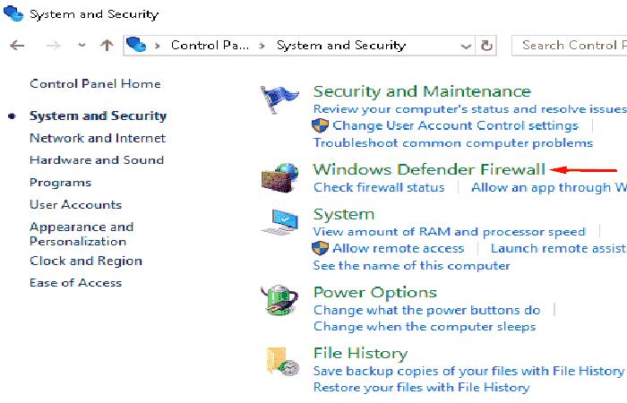 Desactiva el Firewall de Windows Defender