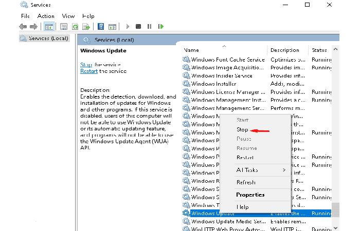 Restablece los componentes de actualización de Windows