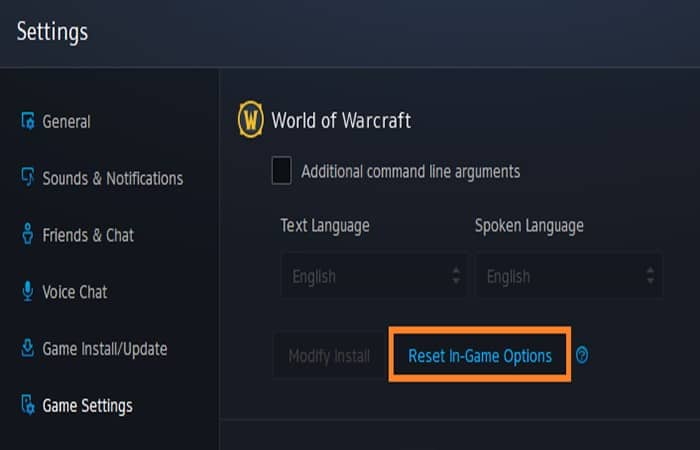 Restablece World Of Warcraft a la configuración predeterminada