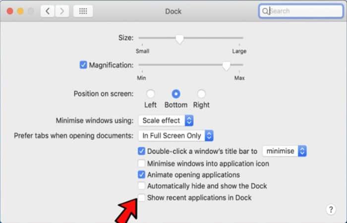 Anula la selección de mostrar aplicaciones recientes en el dock
