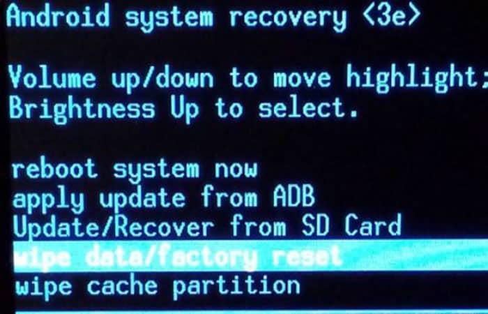 borrado de datos / restablecimiento de fábrica