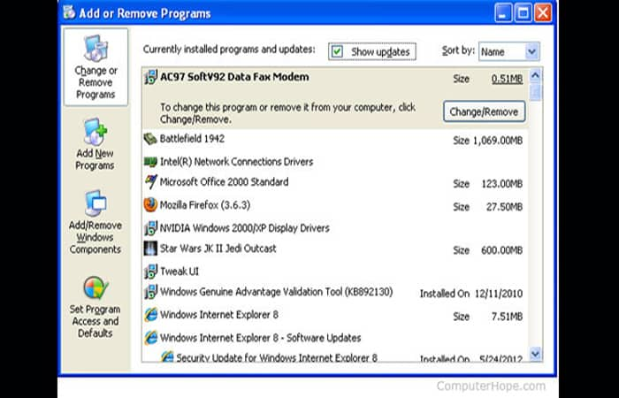 Agregar o quitar programas en Windows XP